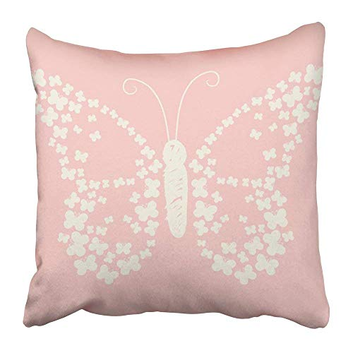quanzhouxuhuixiefu Throw Pillow Covers Print White Girl Pastel Butterfly Dot Graphic Girly Baby Screen Tee Pretty Preppy Polyester 18 X 18 Inch Square Hidden Zipper Decorative Pillowcase -