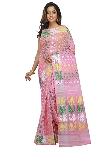 B3Fashion Women's Dhakai Jamdani Saree (Ags653_Pink)