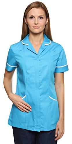 Damen Kostüm Teal - Mirabella Health & Beauty Damen Medizin Und Pflege Kasack Nightingale Blaugrün-Weiß Gr. 48