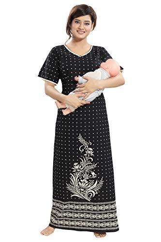 9a399d8676 TUCUTE Women s Cotton Printed Feeding Maternity Nursing Nighty Latest Leaf  Design