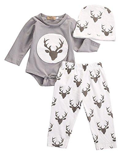 Chickwin unisex Neugeboren Baby 3 Stück Weihnachten Anzug Langarm Body + Hose + Hat (90, 6-12 (In Beste Kostüme Batman Comics)