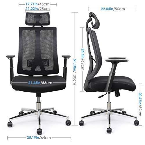 INTEY Bürostuhl, Schreibtischstuhl, ergonomischer Computerstuhl, Höhenverstellbar, Lendenstütze und Kopfstütze, Belastbar 125Kg