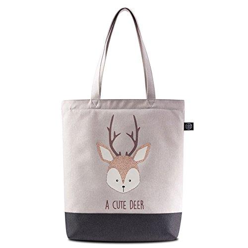 Bwiv borsa a mano di tela da donna con stampa di cervo borsa a spalla da ragazza Grigio chiaro con cervo #1 Grigio chiaro con cervo #3