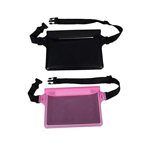 Tragbarer Laufgürtel Tauchen Sport Hüfttasche Leichte 3 Schicht-wasserdicht versiegelt Hüfttasche Tasche mit Clear Touch Screen Windows für Telefon Schwarz und Pink 2ST -