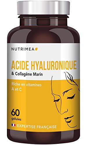 NUTRIMEA  COLLAGENE MARIN et ACIDE HYALURONIQUE NATUREL  Enrichi en Vitamines A & C  Anti rides Naturel  effet Peau Neuve & Soin des Articulations  gélules végétales fabriquées en France