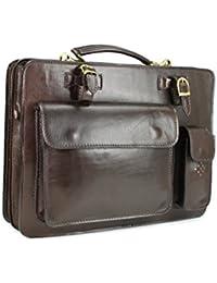 Belli porte-documents design en cuir véritable marron foncé format a4 39 x 29 x 11 cm (l x h x p)