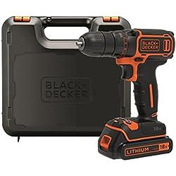 BLACK+DECKER BDCDC18K-QW Perceuse visseuse sans fil - 18V - 1,5 Ah - 1 batterie - Chargeur inclus - Livrée en coffret - Compacte et légère