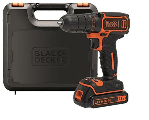 BLACK+DECKER BDCDC18K-QW Perceuse visseuse sans fil - 18V - 1,5 Ah - 1 batterie - Chargeur inclus -...