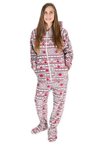 Kajamaz Weihnachtstraum Schlafanzug für Erwachsene mit Füßlingen, einteiliger Unisex-Schlafoverall mit Füßlingen für Erwachsene und Kinder mit Weihnachtsbedruckung im nordischen Stil (L)