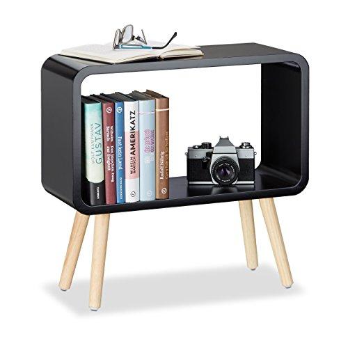 Relaxdays Standregal klein HxBxT: 50 x 53 x 20 cm, Nachttisch ohne Schublade, MDF Holzregal für das Kinderzimmer, grün Schwarz Bücherregal Nachttisch