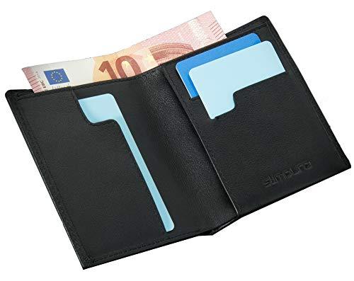 Geldbeutel Männer mit RFID-Schutz Echtleder - Geldbörse Herren Schwarz Portemonnaie Portmonaise Brieftasche Herrengeldbeutel Herrenbörse Portmonee - Ultra Slim Wallet