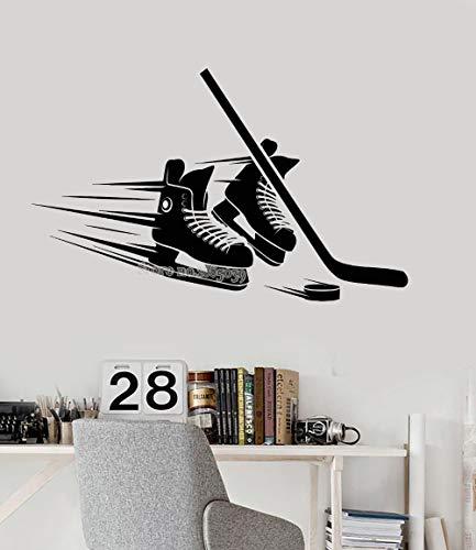 WandtattooSkate Schläger Eishockey Ausrüstung Vinyl Wandtattoo Wohnzimmer Schlafzimmer Heimtextilien Hockey Spieler Aufkleber Kunst Modern Mural68x42cm