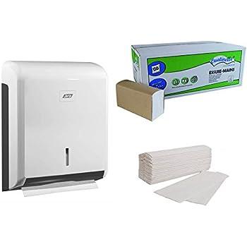 Distributeur papier + 3750 essuie-mains OUATINELLE - 25 paquets de 150 feuilles 22 x23 pliage Z 2 plis Blanc ECOLABEL