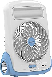 Sonashi Rechargeable Mini Table Fan with flash light | Tilt function | LED | 3 speed |1.5-3 Hours Backup