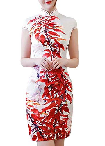 Yisism Women Cheongsam Short Sleeve Dresses Split Print Mini Dress 2 US XS Beaded Waist Halter Dress