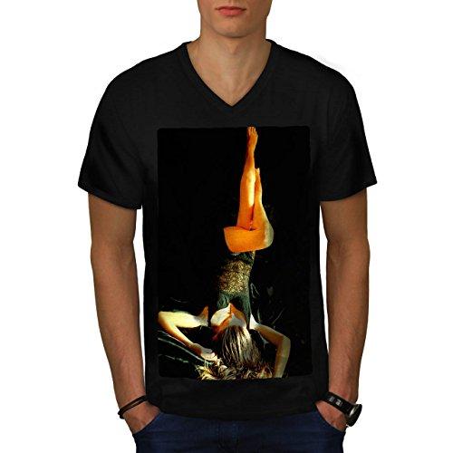 Frau Nackt Heiß Modell Sexy Sexy Dame Herren XL V-Ausschnitt T-shirt | Wellcoda
