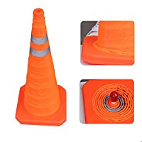 Sungmor 28 Inch Collapsible Reflective Traffic Cone,Multi Purpose Pop-up Extendable Safety Signal Cones with LED Warning Light