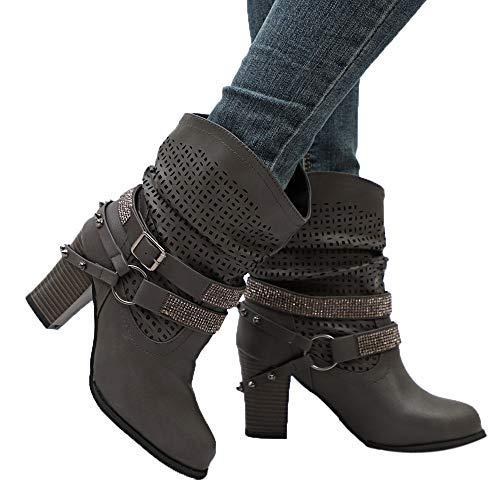 OHQ Bottines à Talons Hauts éPais avec des Bottes en Strass Noir Gris Beige Femmes Automne Hiver ÉVider Ankle Boots Dames Heel Demi Martin Chaussures Femm