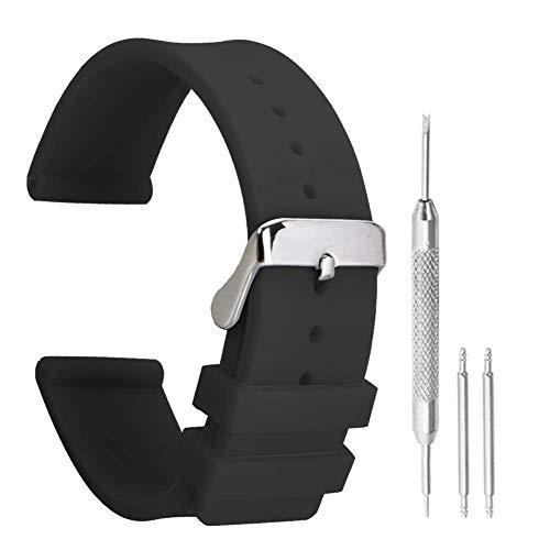 20mm sportlich Silikonband für Herrenuhren Taucheruhren Neopren in schwarz mit klassischen Pin Schnallenriemen