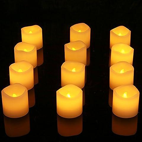 Homemory Lot de 12 Bougies Votives à Piles En Cire Véritable sans flammes, Éclairage LED Effet Vacillant Ultra Réaliste par Festive Lights Table Party Anniversaire Mariage (Piles Incluses)