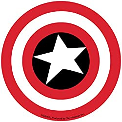 "CAPTAIN CAPITÁN AMERICA SHIELD STICKER, Officially Licensed Marvel's The Avengers Comic Superhero Artwork ilustraciones, 4"" x 4"" - Long Lasting Die-Cut Vinyl Sticker DECAL"