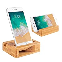 Encozy Cell Phone Stand with Sound Amplifier, Desktop Mobile Phone Holder Natural Bamboo