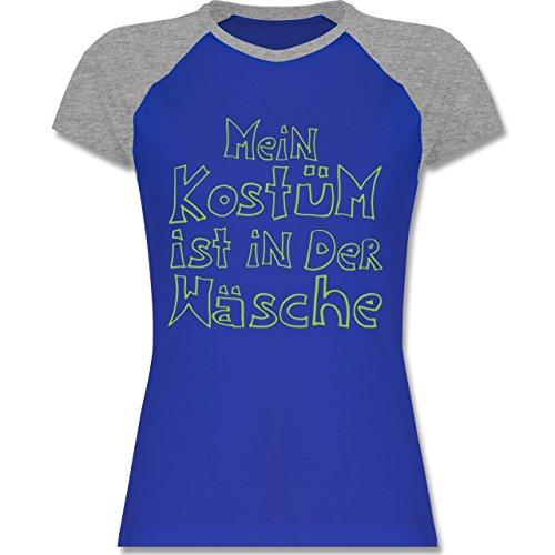 Karneval & Fasching - Mein Kostüm ist in der Wäsche - zweifarbiges Baseballshirt / Raglan T-Shirt für Damen Royalblau/Grau meliert