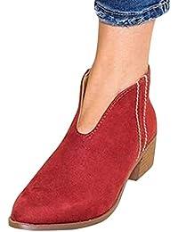 Tomwell Mujer Moda Leopardo Botas Cortas Elegante Cómodas Antideslizante  Plano Zapatos Chic Cremallera Botines Bootie Chelsea dec292fc9a12