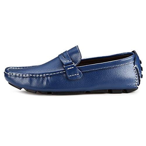 AFFINEST Herren Mokassins Leder Schuhe Slipper Freitzeit Schuhe Blau
