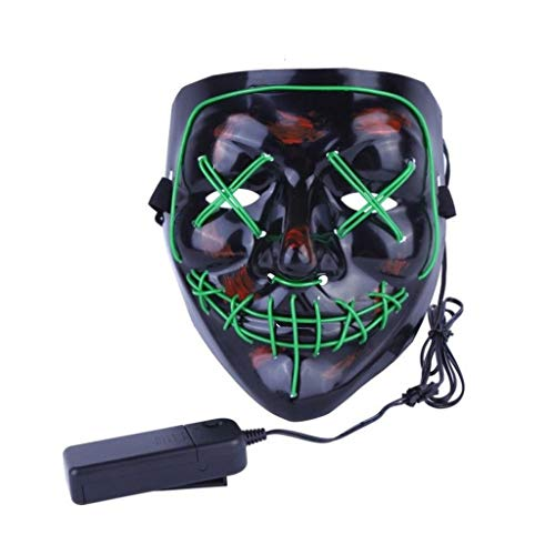 Promi Vampir Kostüm - LED Light Up Mask - Leuchtende Maske - Cosplay Kostüm Maske - Party Rave Maske - Erwachsene Und Kinder (Color : Green)