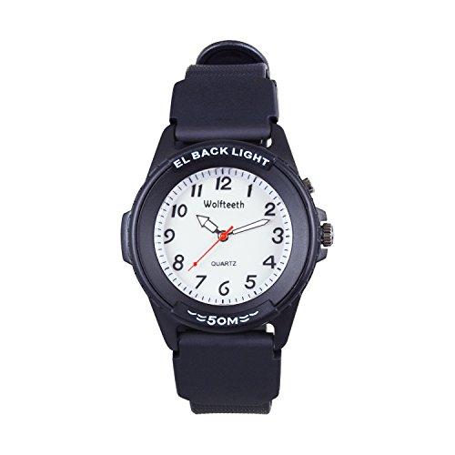 Wolfteeth Analog Quartz Boys Reloj De Pulsera con Segunda Mano Luminosa Retroiluminación Dial Blanco Resistente Al Agua Moda...