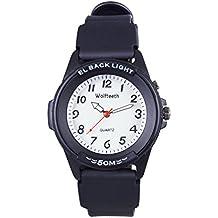 Wolfteeth Analog Quartz Boys Reloj De Pulsera con Segunda Mano Luminosa Retroiluminación Dial Blanco Resistente Al