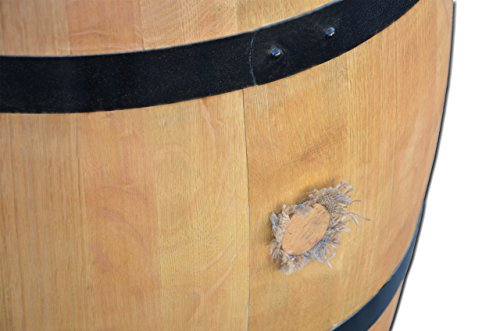 Dekofass, Weinfass geöffnet als Regentonne, Regensammler - Fass geschliffen lackiert mit schwarzenRingen (Fass nur geöffnet) -