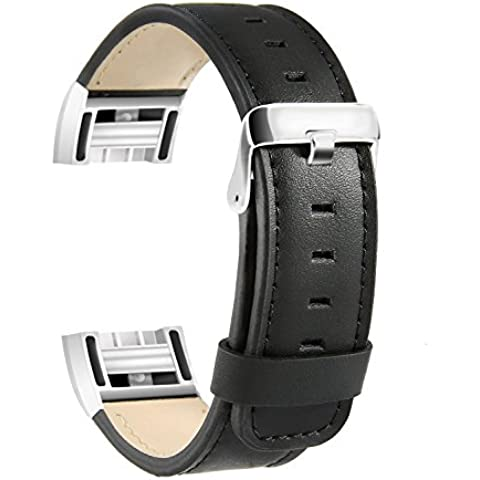 Fitbit Charge 2 Leather Band, SoftFloat Replacement Luxury Genuine Leather Band Strap for Fitbit Charge 2 ,with Metal Clasp (black)