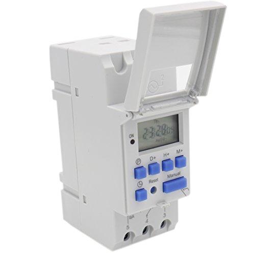 Heschen THC15A - Temporizzatore digitale elettronico Digital Power LCD programmabile settimanalmente CA 220–240V 16amp SPST 35mm DIN rail