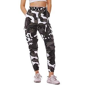 Fanient Damen Hosen Camouflage Jogginghose Sporthose Workwear Uniform Combat Cargo Relaxed-Fit Multi Taschen Freizeithose Military Sicherheitshose mit Gürtel