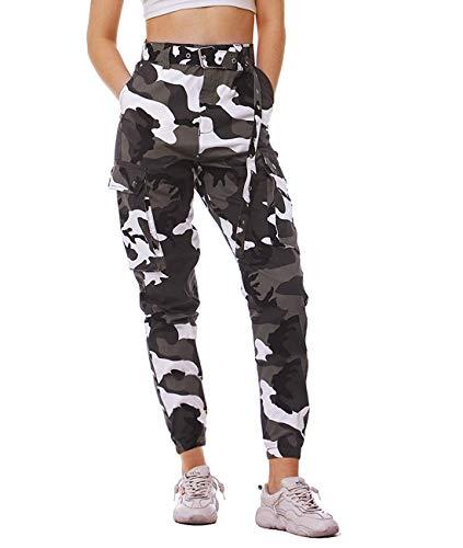Damen Sweatshose Camouflage Gürtel Hosen Taktischer Kampf Cargo Pant Hose hoch taillierte Hosen Multi Taschen Freizeithosen Arbeit Kampfhose mit Gürtel