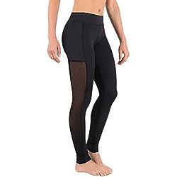 deeptwist Mujer Malla Insertada Pantalones de Yoga Deportes Rutina de Ejercicio Aptitud Medias Respirable Polainas, UK-DT4009-Black-6