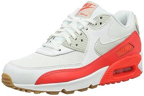 Nike Air Max 90 Essential, Baskets Basses Femme, Blanc (Summit White/Light Bone/Bright Rouge Crimson), 38.5 EU