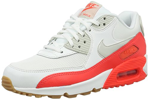 Nike Wmns Air Max 90 Essential Scarpe da ginnastica, Donna, Bianco (Summit White/Light Brown-Bright Criimson-S), 38 EU