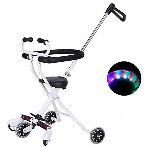 ZHIJINLI artifact five-wheeler simple light folding baby stroller baby stroller 1-3 years old stroller white soft seat flash wheel