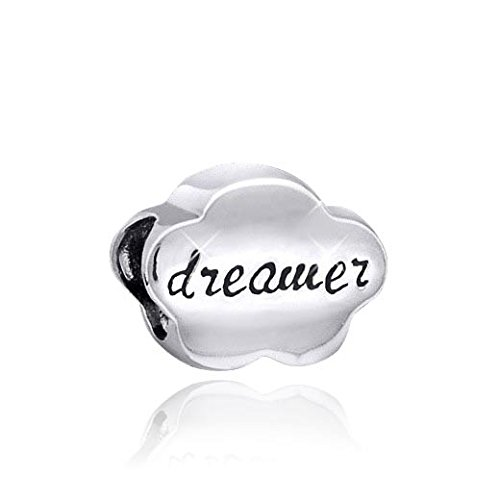 MATERIA 925 Silber Beads Anhänger Wolke mit Gravur DREAMER für Beads Armband/Kette #48 -