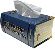 Tissue box, royal blue book-like, made of resin, sturdy texture, suitable for car decoration in bathroom, home bathroom, toi
