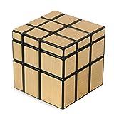 WXXW Spiegel Zauberwürfel 3x3 Speed Cube Magic Cube Kombinationsübungen Druckminderer Intelligenz IQ Geschenk Kind,Gold