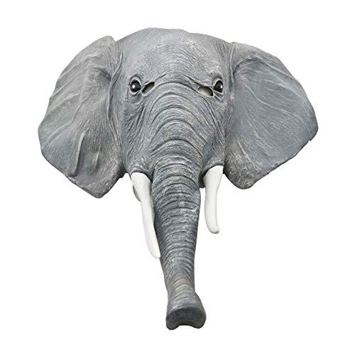 SJTL Elefante Cabeza de Animal Máscara de Látex Máscara Completa Gracioso Fiesta Halloween Carnaval Cosplay Adultos Unisexo, Talla única,A