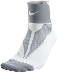 Nike Elite Run Lightwght QTR Calcetines, Unisex Adulto, Blanco/Gris Wolf Grey/