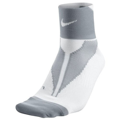 Nike Elite Run Lightwght Qtr Calcetines, Unisex adulto, Blanco / Gris (White / Wolf Grey / White), 44-45.5