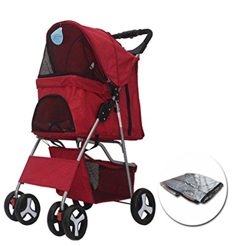 Ann carrello per passeggini per animali domestici, 4 rotondi carrello per cuccioli per neonati e gatti rotolo per cuccioli, telaio in acciaio inossidabile leggero