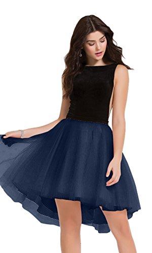 Charmant Damen Rosa Hi-lo Tanzenkleider Cocktailkleider heimkehr Tanzenkleider Mini Rock A-linie Navy Blau