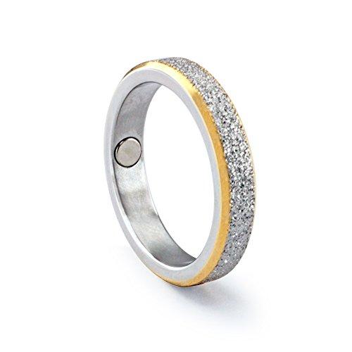 Eleganter Designer Bicolor Magnetring 206 Diamantenstaub schmal Energetix 4you Partnerring Ehering Verlobungsring (17